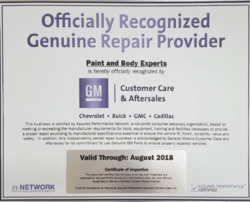 General Motors Certification - Paint and Body Experts of Slidell, LA