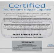Aluminum Repair Certified